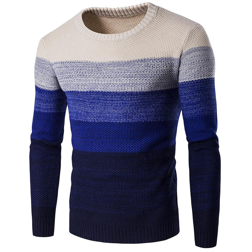 Sweater 2019 Men Pullovers Long Sleeve Knitted Sweater High Quality Winter Pullovers Newest Warm Gradient Contrast Color Sweater