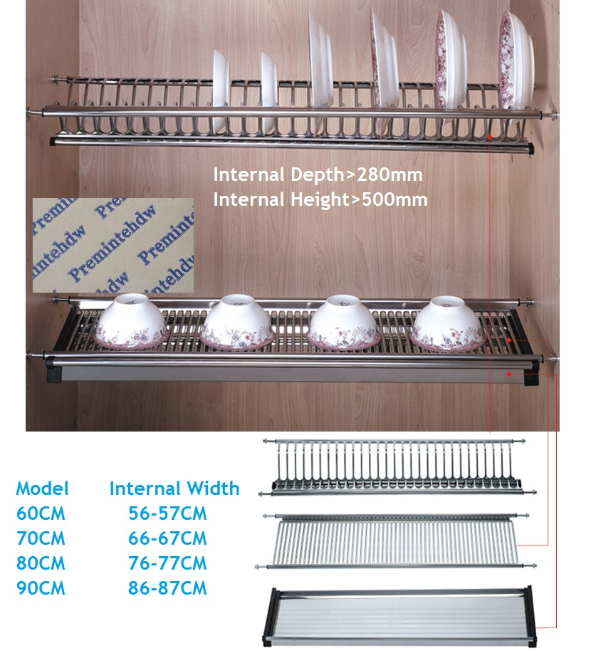 60CM 70CM 80CM 90CM Wall Kitchen Cabinet Cupboard Inside 2-tier Stainless Steel Plate Bowl Drying Rack Dinnerware Organizer