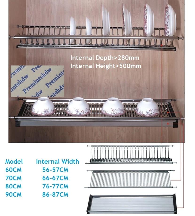 60cm 70cm 80cm 90cm Wall Kitchen Cabinet Cupboard Inside 2 Tier Stainless Steel Plate Bowl Drying Rack Dinnerware Organizer Dryer Plates Dryer Kitchendryer Rack Aliexpress