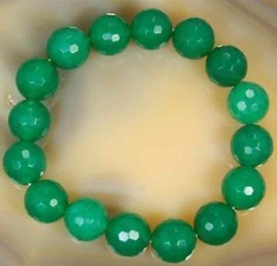 """Gratis Verzending Nieuwe Hot Natuurlijke 10 Mm Facet Green Jade Ronde Kralen Armband 7.5"""""""