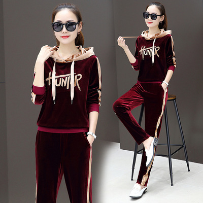 Gold Lines Velvet Casual Sports Clothing WOMEN'S Suit 2019 Autumn Korean-style WOMEN'S Wear Hooded Large Size Hoodie Two-Piece S