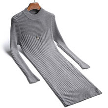 Женское трикотажное платье свитер hlbcbg блестящее теплое пуловер