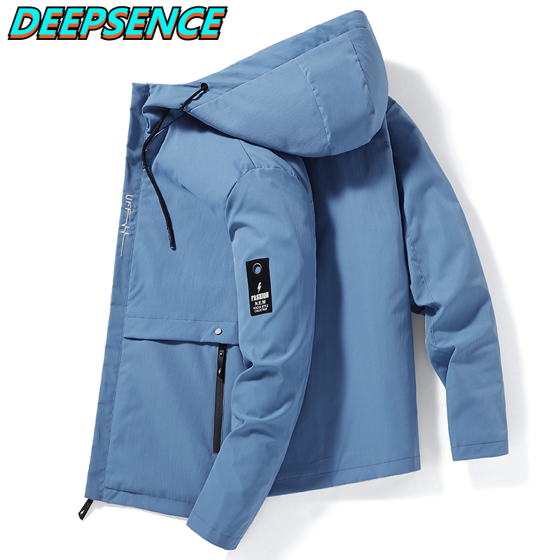 Куртка мужская демисезонная свободного покроя, кроссовая, с капюшоном, на молнии, с карманами, однотонная уличная одежда, Ins Super Fire Jacktes