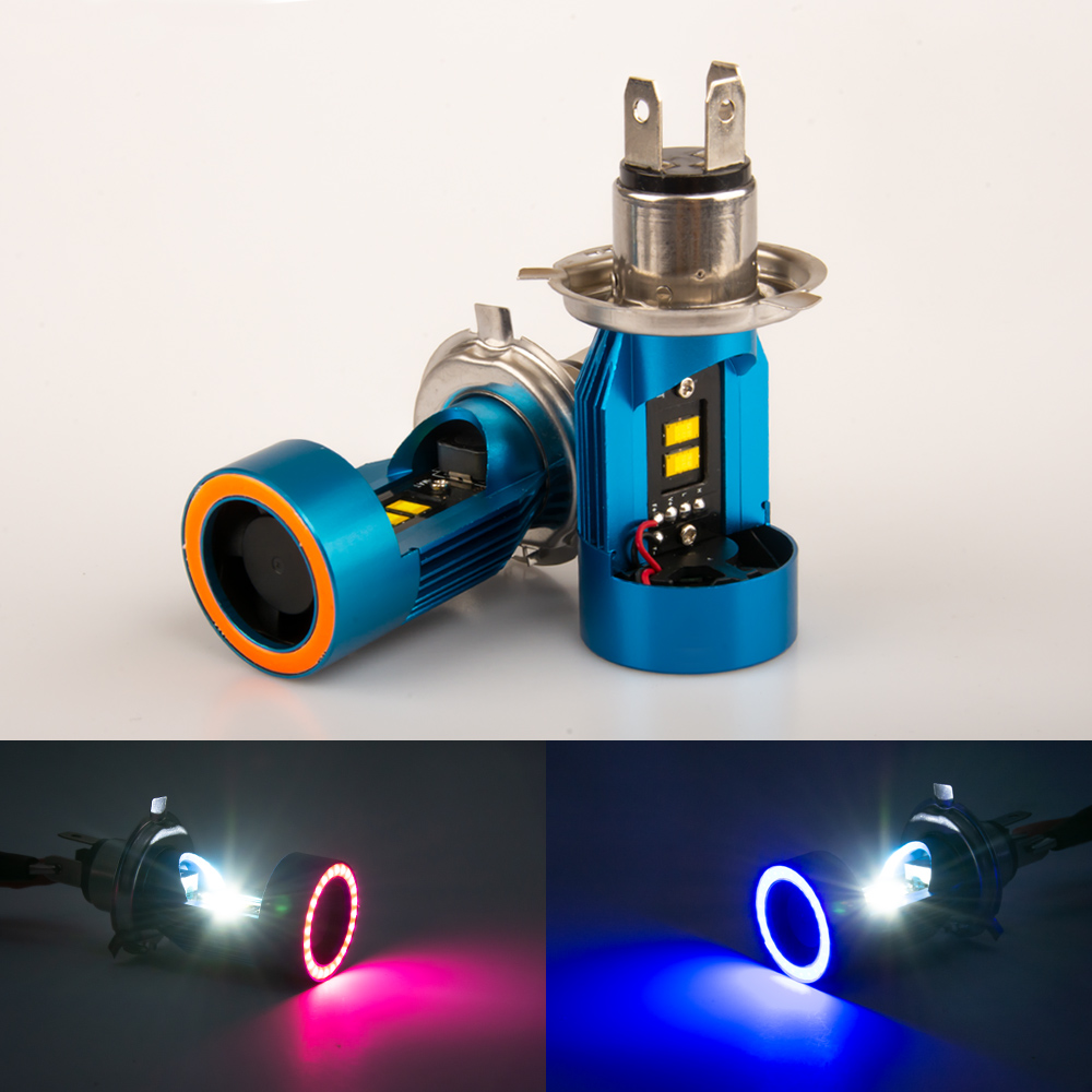 1pc <font><b>LED</b></font> <font><b>H4</b></font> BA20D HS1 <font><b>Moto</b></font> Motorcycle Headlight Bulbs <font><b>Lamp</b></font> <font><b>H4</b></font> <font><b>Led</b></font> Motorbike Electric Car Scooter Lighting With Angel eye image