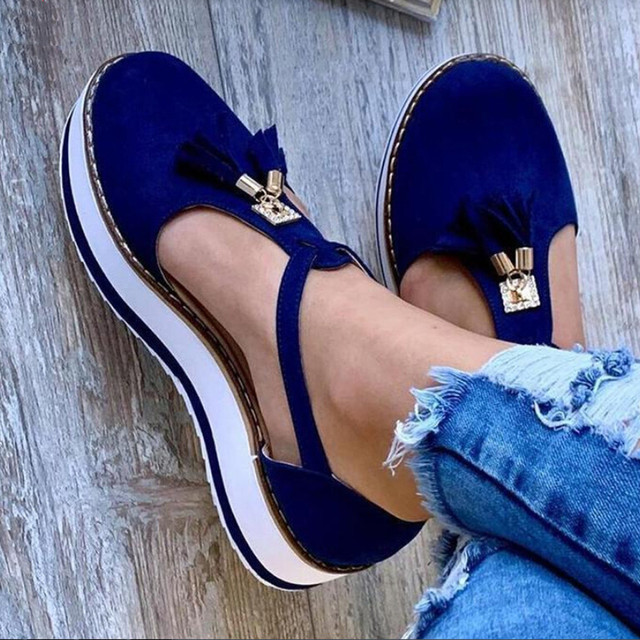 Tassel Round Toe Flat Sandals Thick Bottom Buckle Strap Casual Beach Single Shoes Woman Non-slip Flats Woman Sandal Chaussures 18