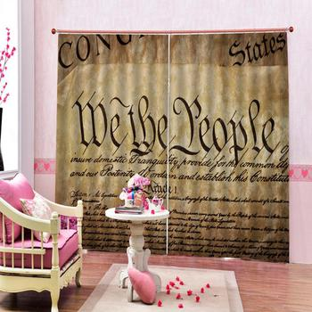 morden curtains letter curtains 3D Window Curtain Blackout curtain print Luxury Blackout For Living Room