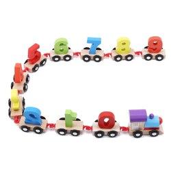 New Wooden Alphabet Number Train Blocks Mini Digital Train Toys Railway Tools Building Blocks For Children Early Education