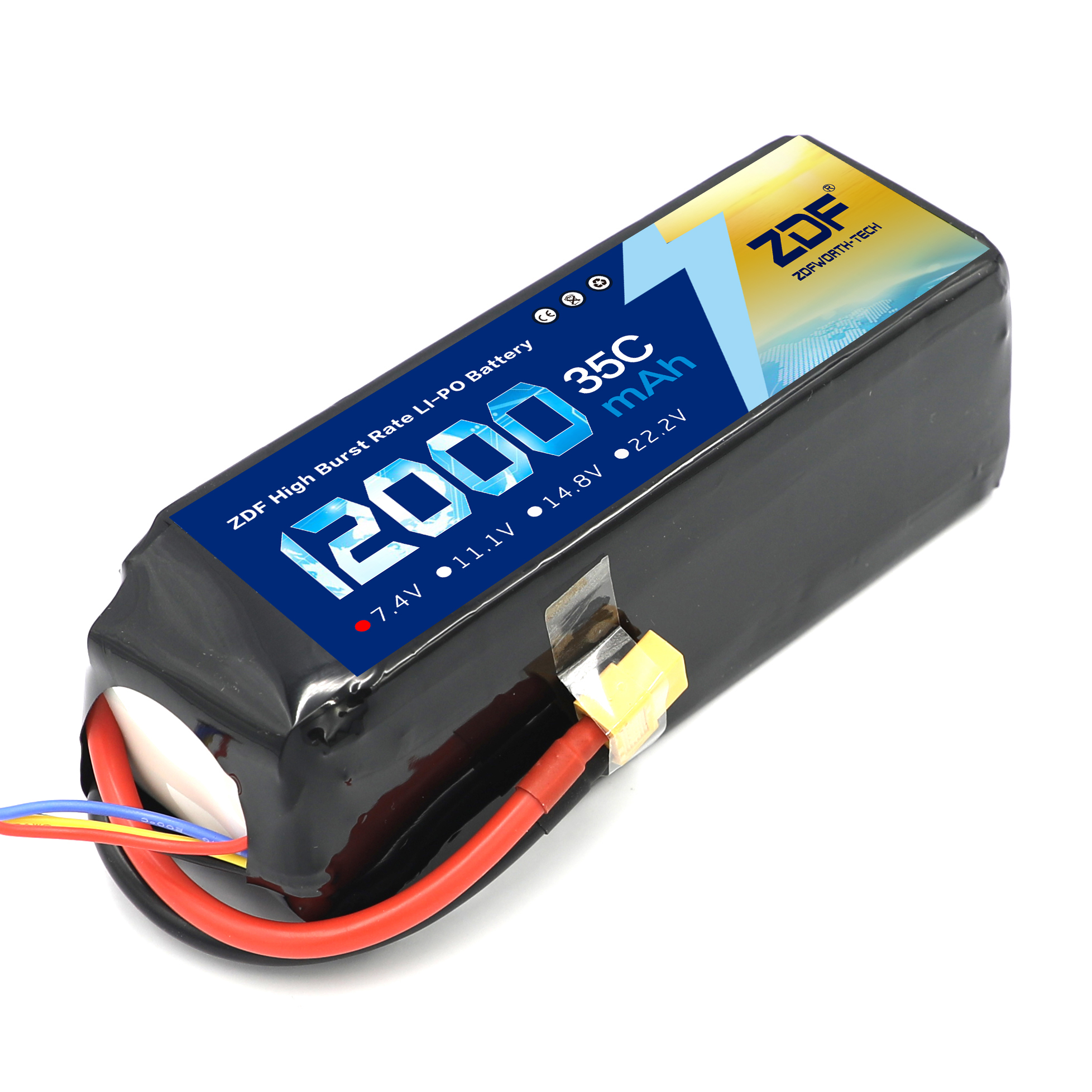 ZDF RC Car Lipo Battery 2S 3S 7.4V / 11.1V 12000mah 35C Max 70C XT90 / XT60/ T Plug For Rc Airplane race Car RC Truck image