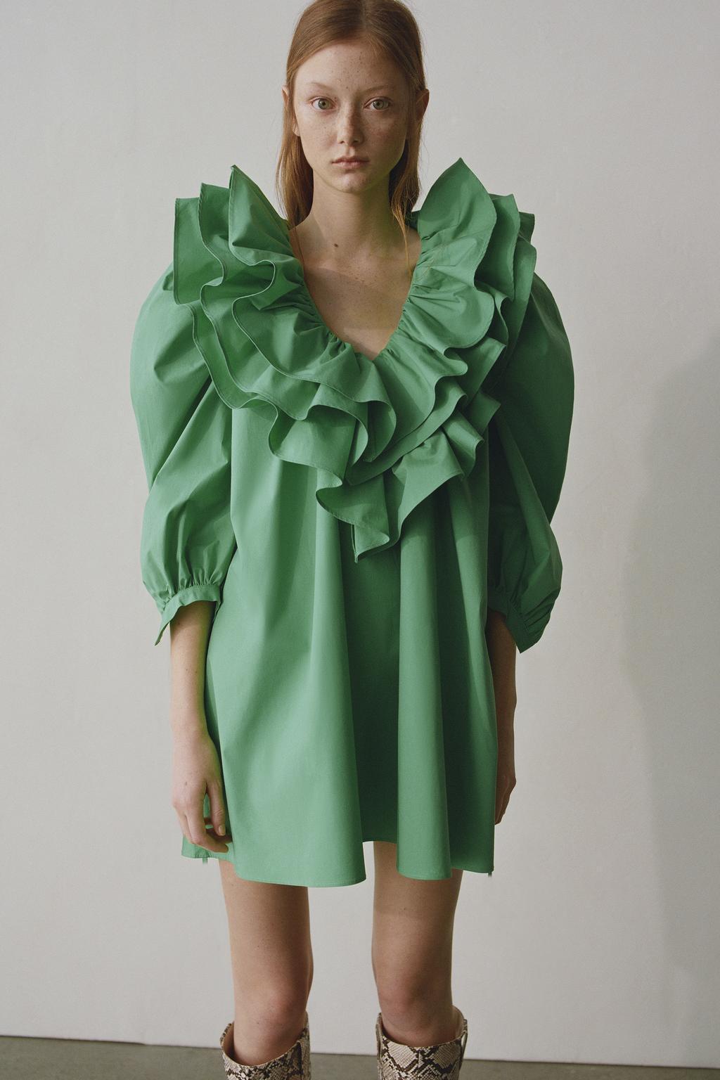 2020 New Spring Summer New Style European Laminated Decoration Poplin Female Dress Zaraing Vadiming Sheining Women Dress