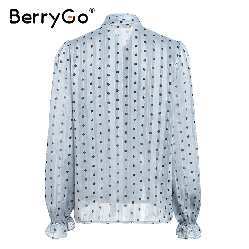 BerryGo Blue polka dot long sleeve office blouse women Summer spring tie neck blouses shirt Elegant work wear loose female top