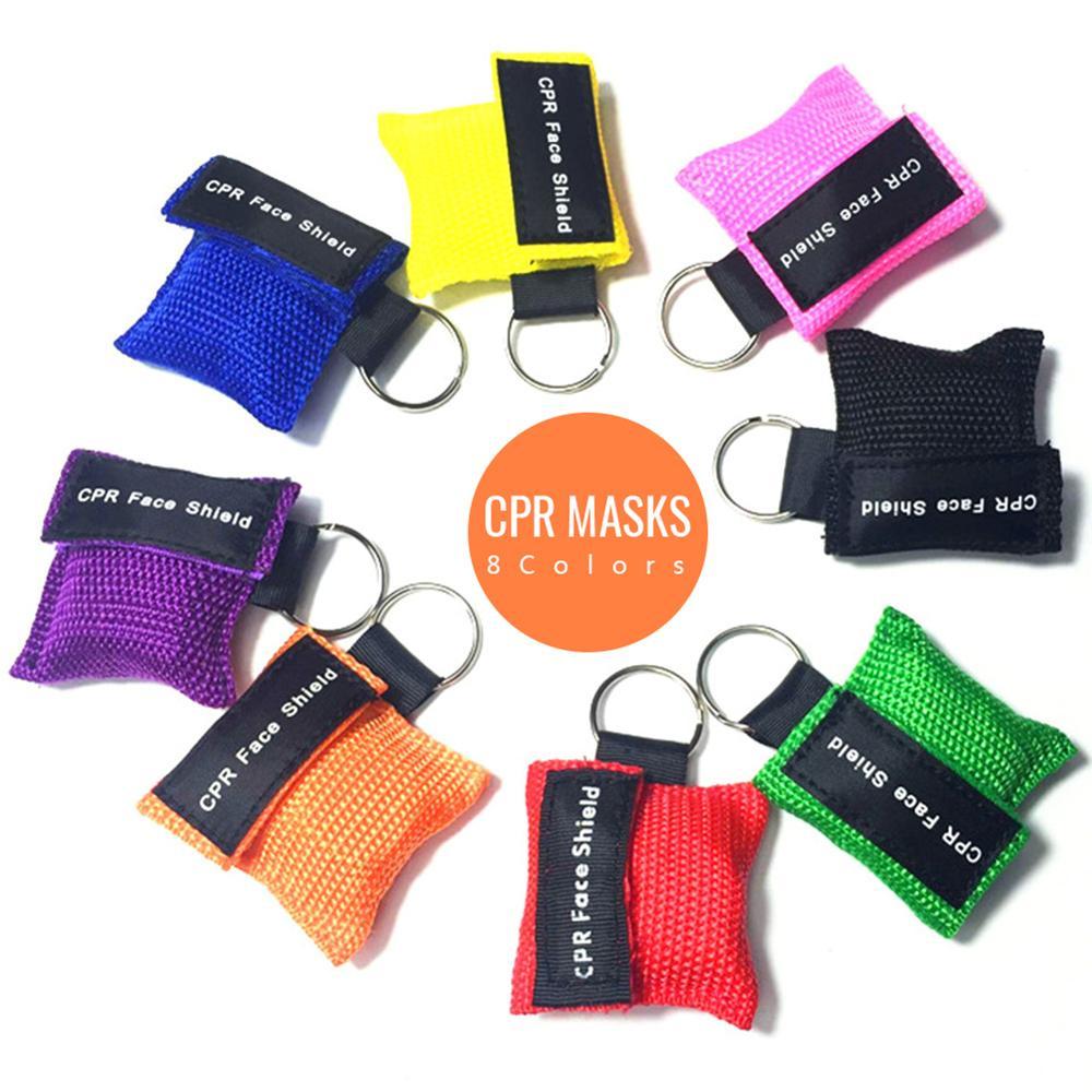 1PCS Neue Beatmungs Maske Keychain Notfall Gesicht Schild Erste Hilfe CPR Maske Für Gesundheit Pflege Werkzeuge Gesicht Schild 8 farben