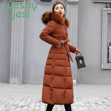 2019 New Winter Jacket Women Big Fur collar Hooded Thick Down Parkas X-Long Female Jacket Coat Slim Warm Winter Outwear стоимость