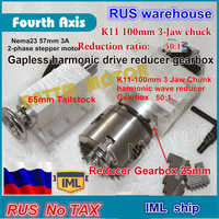 【RU ship】 4th rotary axis Gapless harmonic reducer Gearbox K11-100mm dividing head 3 jaw & 65mm Tailstock for CNC ROUTER MACHINE