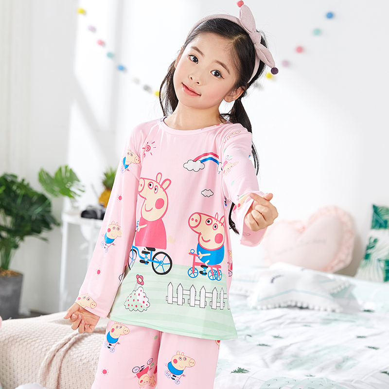 Peppa Pig Pink Girl Pajama Summer Sleepwear Suit Nightwear Pajama Dress Clothes Long Sleeve Set Pajama Kid Children's Pujamas