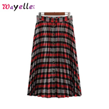 High Waist Skirt Women Decorate Casual Stylish Plaid Skirts 2019 Tide Pleated Buttons Skirt Autumn UK Style Mid Calf Skirts stylish women s high waisted buttons embellished flare skirt