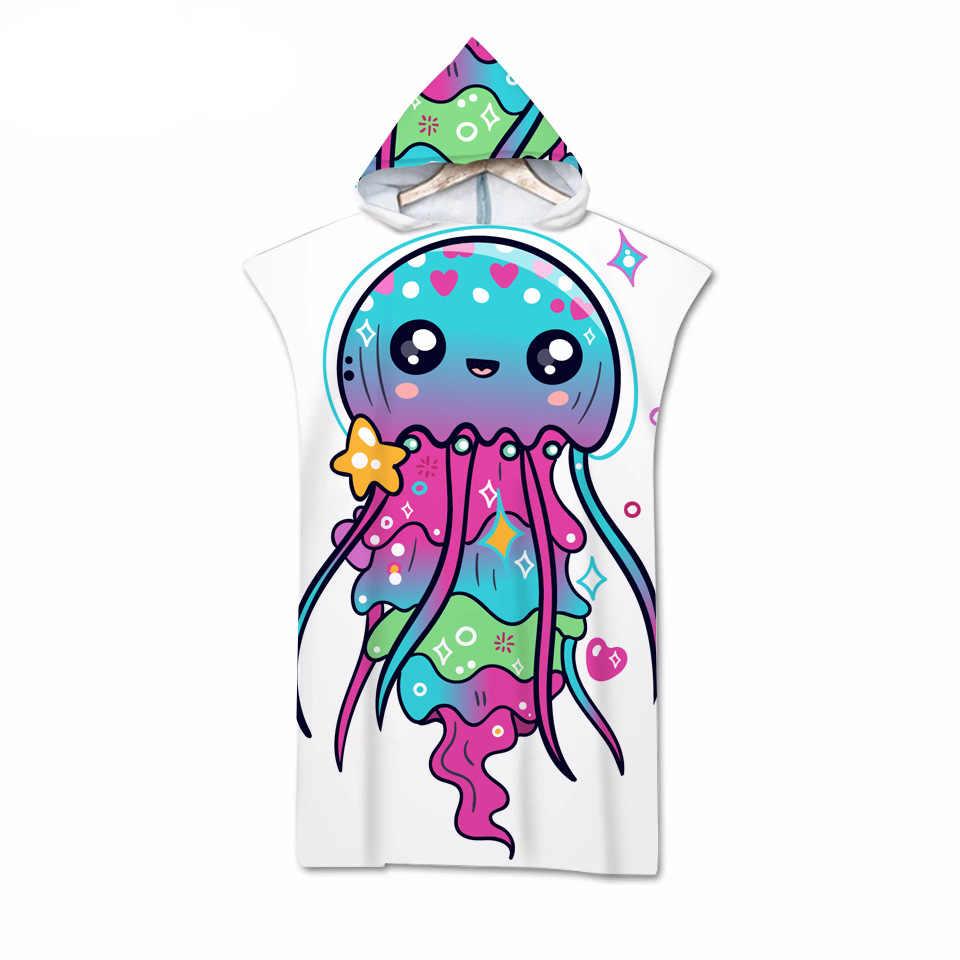 قنديل البحر الملونة ثلاثية الأبعاد الطباعة الرقمية مقنعين منشفة يمكن ارتداؤها منشفة استحمام للكبار السفر مناشف شاطئ من الميكروفايبر 04