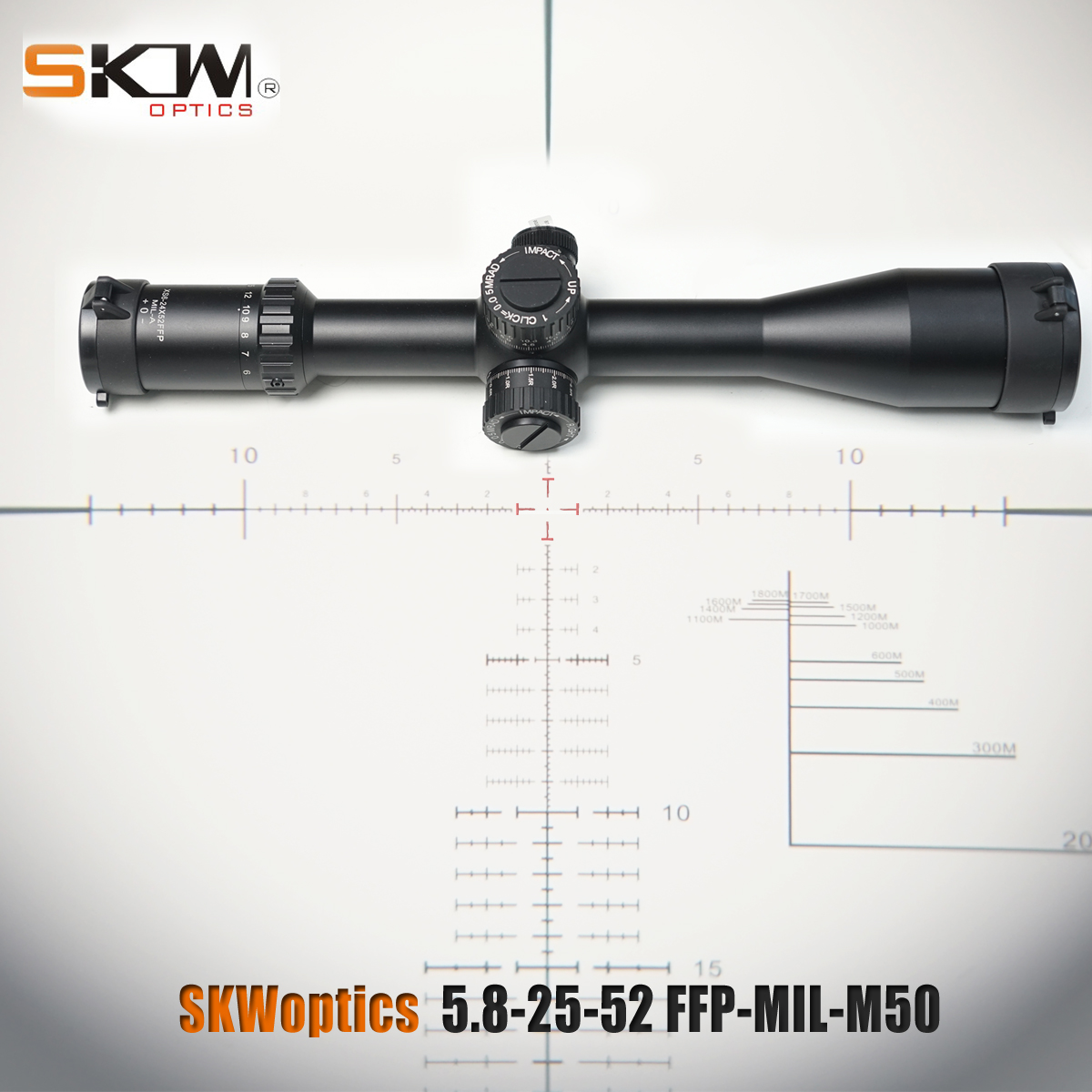SKWoptics 5.8-25x52FFP-MIL-M50 First Focal Plane ffp rifle scope rings Hunting reticle Heavy duty riflescope long-range scope