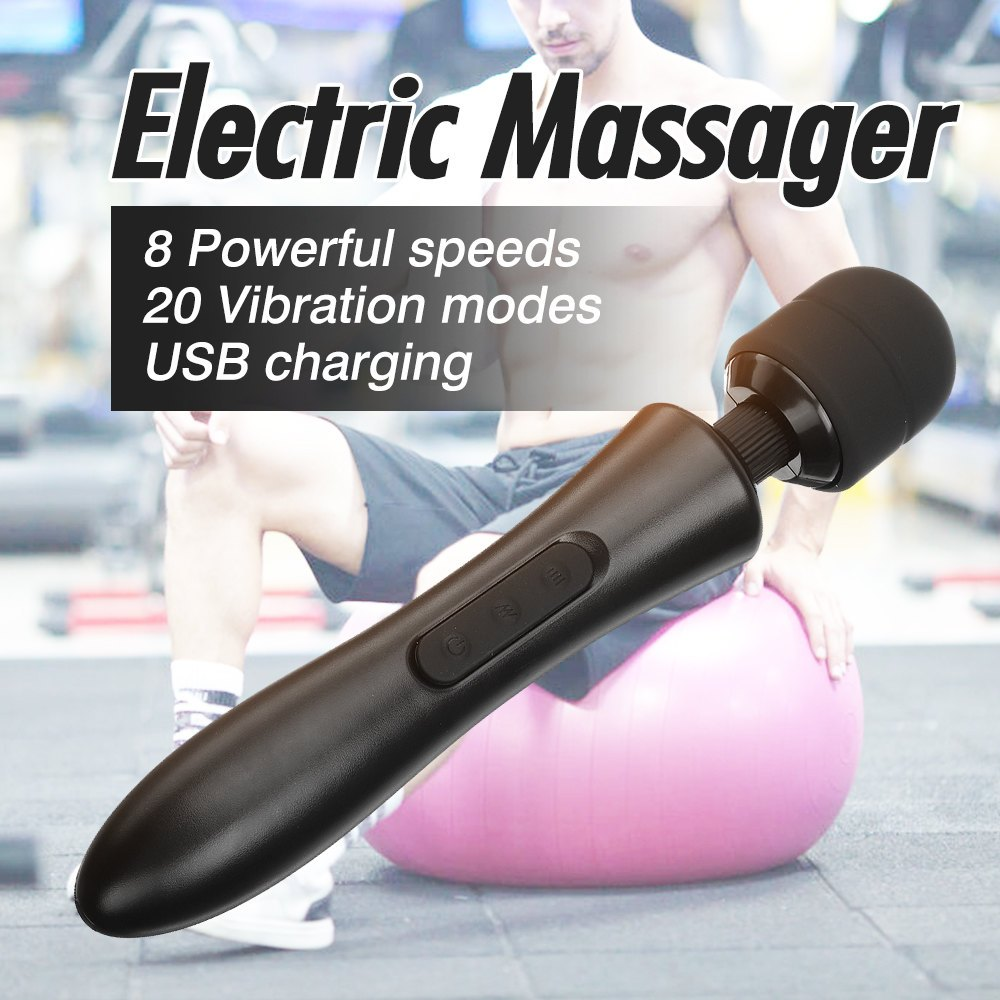 Electric Percussion Vibration USB Rechargeable Neck Muscle Body Therapy Massager 110-250V 8 Speeds 20 Vibration Modes Relax Tool