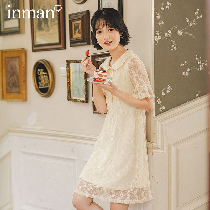 INMAN 2020 Summer New Arrival Lace Double-deck Vintage Sweet Lapel Lace Short Sleeve Dress