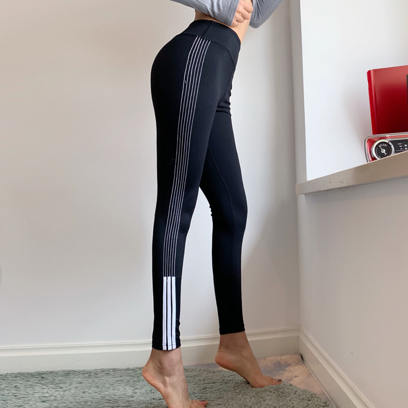 Side Stripes High-waisted Buttock Lifting Yoga Pants Women's Elasticity Exaggerates Hips Belly Holding Leggings Quick-Dry Runnin