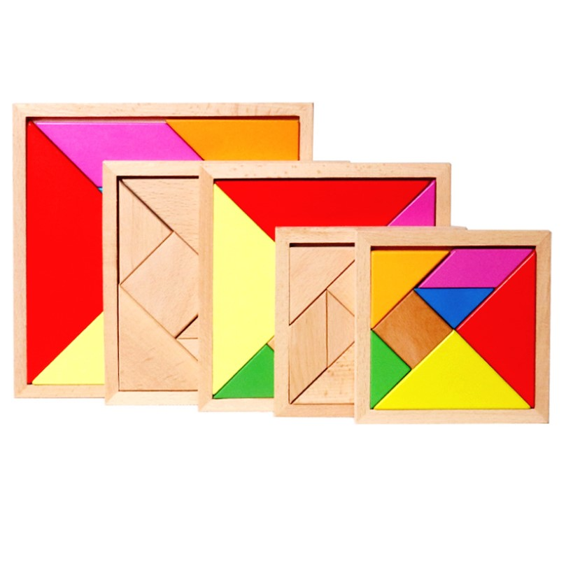 Children Mental Development Wood Tangram Wooden Jigsaw Puzzle Educational Toys Kid Cognitive Training Puzzle Toy With Cards Book