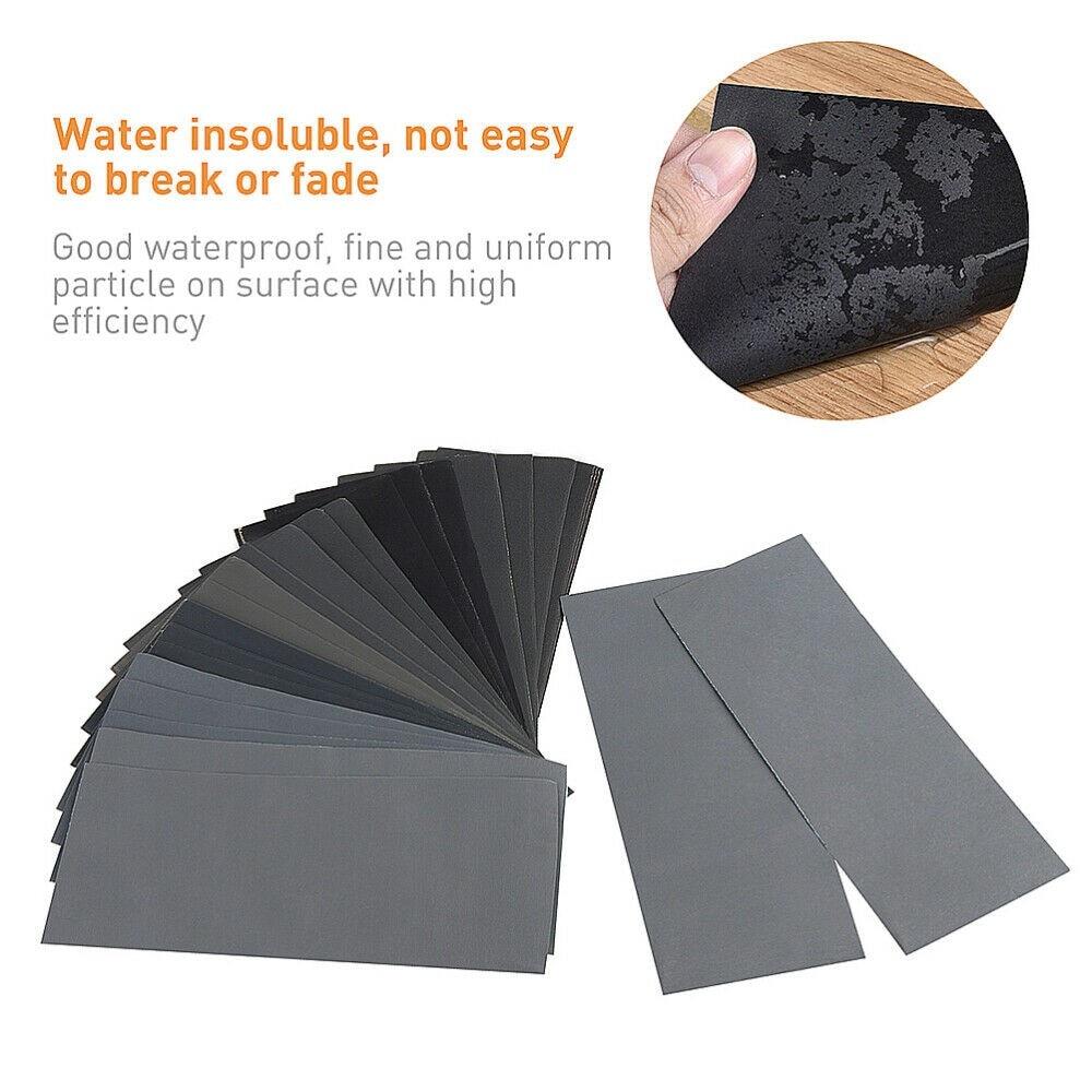 Well Made Sheets Of Sandpaper 1000/2000/3000/5000/7000 Grit 20 Sheets Kit Dry Wet Sandpaper