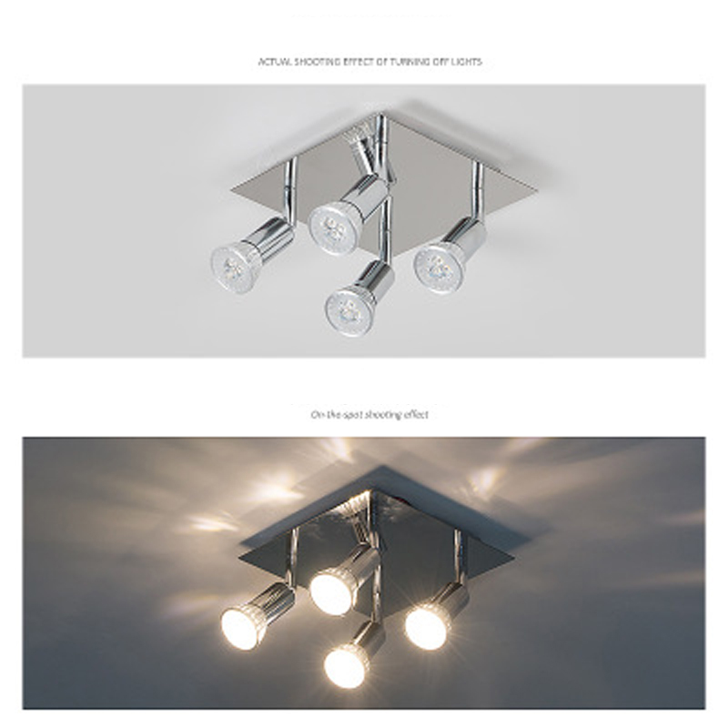 Square led ceiling lamp ceiling decoration Ming clothing store mirror front four adjustable spotlights 12W