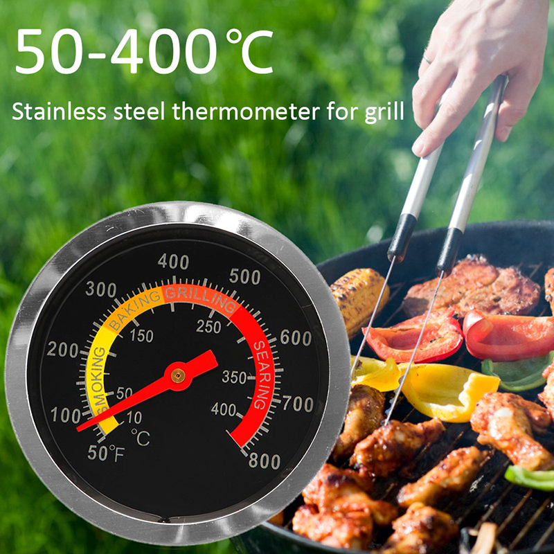 50-400℃ Stainless Steel Barbecue BBQ Smoker Grill Thermometer Temperature Gauge Oven Thermometer Household Merchandises