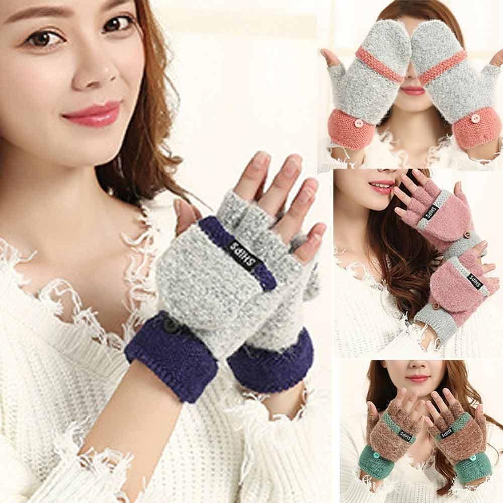 Для женщин девочек Вязание наручные пальцев рук Зимние перчатки с подогревом