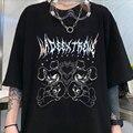 Летняя темная одежда, повседневная свободная Мужская и женская футболка, темная универсальная одежда с принтом медведя демона, женская фут...