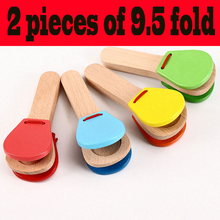 Wooden Percussion Handle Clapping Castanets Board For Baby Musical Instrument Preschool Early Educational Toys For Children