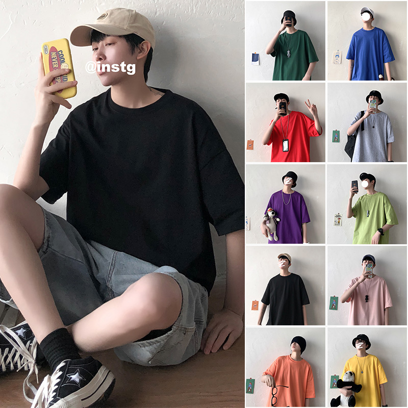 Privathinker 2020 Men Solid Short Sleeve Tshirts Men's Korean Summer Colorful Tee T-shirts Male O-Neck Clothes Oversize S-5XL