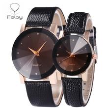 Foloy Love watch men Quality Fashion Numerals Faux Leather Analog Quartz Diamond
