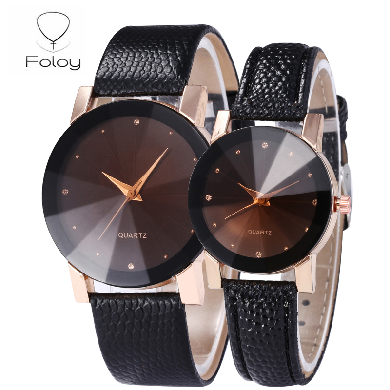 Foloy Love Watch Men Quality Fashion Numerals Faux Leather Analog Quartz Diamond Surface Lovers Male Watches Clock Gift