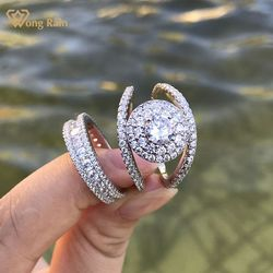 Wong deszcz 100% 925 srebro okrągły Cut Moissanite kamień ślub zaręczyny osobowości pierścionki Fine Jewelry hurtownie