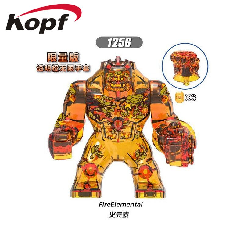 XH 1256 Super Heroe Building Blocks Big Figures Fire Elemental Water Element Earth Elemental Wind Element For Kids Gift Toys image