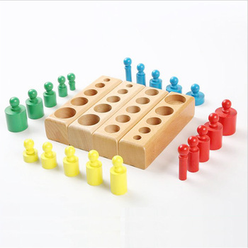 Montessori Materials Baby Wooden Toys Colorful Socket Cylinder Block For Children Educational Preschool Early Learning Toy 4pcs set educational wooden kid montessori math cylinder socket early learning development teaching toy gift