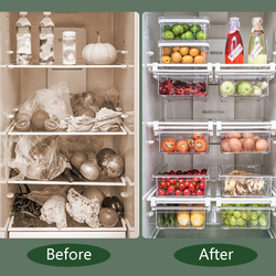 TTLIFE 1/4/8 Compartment PET Refrigerator Drawer Organizer Bin Transparent Fridge Storage Bin Containers For Pantry Freezer