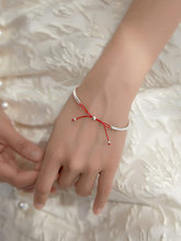 s925 silver bangle bracelet with red string bowknot ins jewelry bracelet for female lover girlfriend gift wholesale