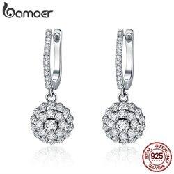 Bamoer authentic 925 prata esterlina brilhando zircão cúbico círculo redondo gota brincos para o casamento feminino noivado jóias sce517