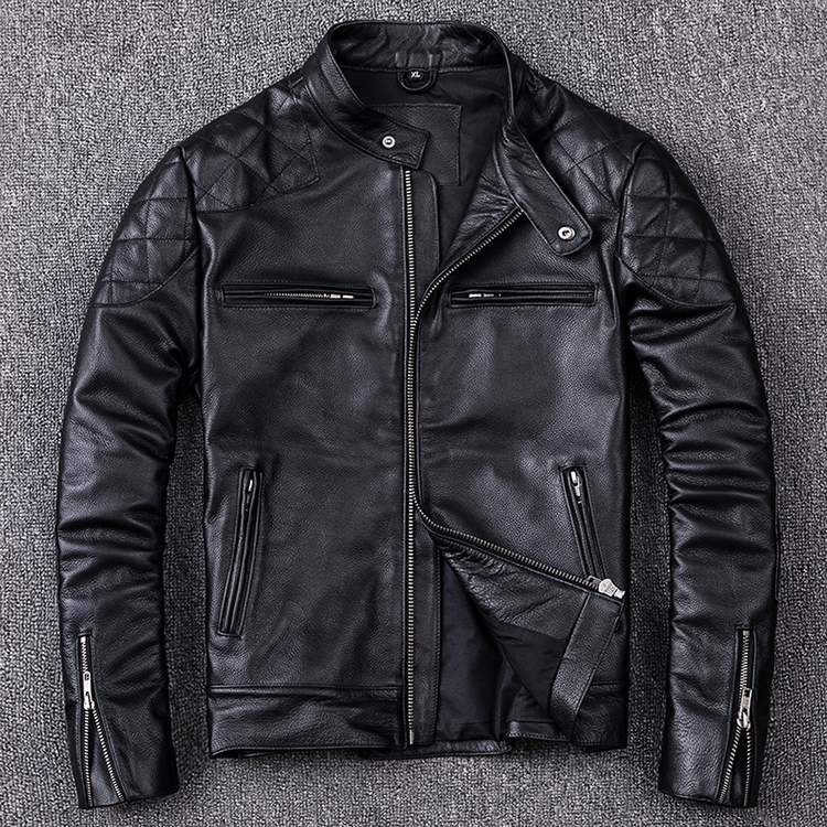 Free Shipping.Brand New Motor Style Jacket,mens Genuine Leather Coat.plus Size Black Slim Jacket.cowhide.cheap