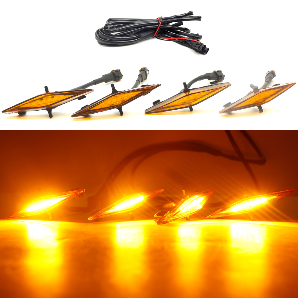 4PCS Bright Amber Front Grill Lights LED Front Bumper Grille Amber Lights Fog Lamp For <font><b>Toyota</b></font> <font><b>4Runner</b></font> 2014-2019 LED Work Light image