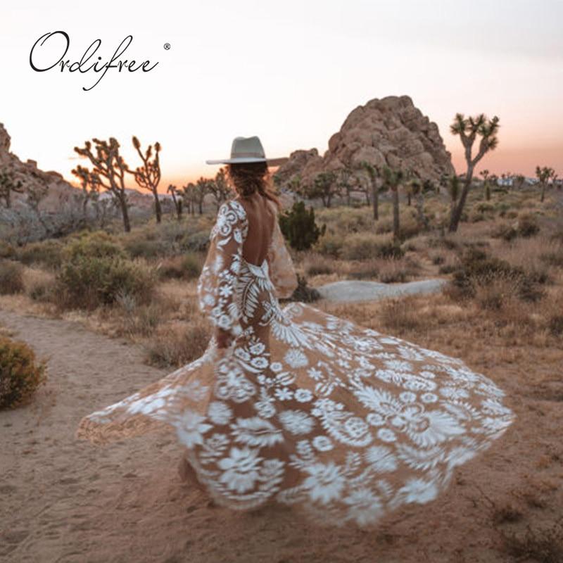 Ordifree 2019 Summer Boho Women Maxi Dress Floor Length Tulle Dress Embroidery White Lace Sexy Long Beach Dress