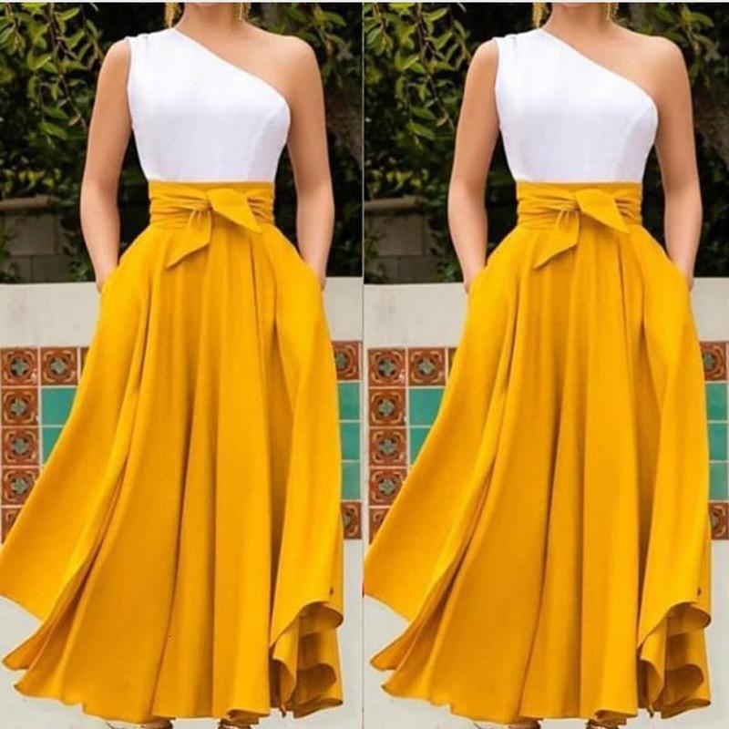 BacklakeGirls Elegant One Shoulder Sleeveless Pleated Long Dress Contrast Color Evening Party Dress Dluga Sukienka