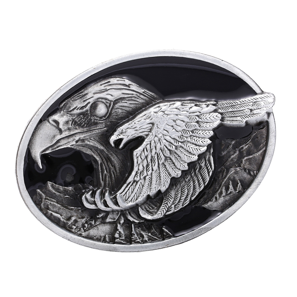 Novelty Western Cowboy Antique Metal Oval Mens Leather Belt Buckle Flying Eagle Pattern Leather Belt Decor