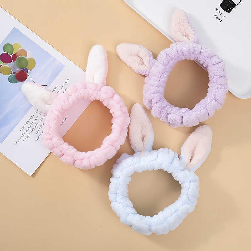 น่ารักกระต่ายหู Headband แต่งหน้า Face WASH Soft Coral Fleece Hairband สำหรับสาวเกาหลี Headwear Headwrap อุปกรณ์เสริมผม