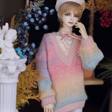 New BJD Doll Clothes Rainbow-colored Sweater Loose-Fit Warm Cute Tops White Beret GIRL'S Outfit for 1/3 1/4  Accessories