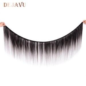 Image 2 - Dejavu ישר שיער טבעי 3 חבילות עם פרונטאלית ברזילאי שיער 13*4 תחרה פרונטאלית סגר עם חבילות שאינו רמי הארכת שיער