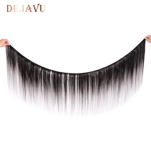 Image 2 - Dejavu cheveux humains droits 3 paquets avec cheveux brésiliens frontaux 13*4 fermeture frontale en dentelle avec faisceaux Extension de cheveux non remy