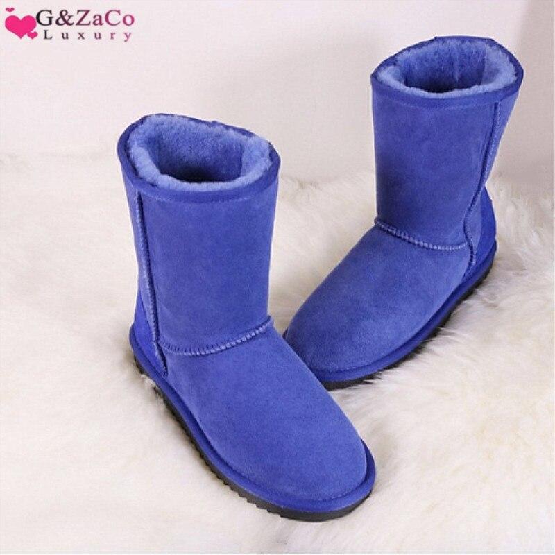 G & Zaco luxe bottes d'hiver femmes mouton laine bottes chaussures en peau de mouton véritable bottes de neige classique mi-mollet femme daim cuir botte